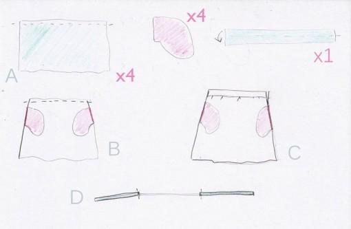 schema jupe plumetis